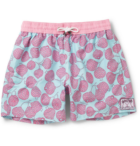 Pink House Mustique Mid-Length Pomegranate Print Swim Shorts