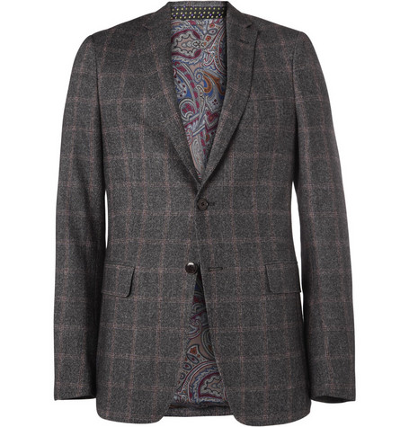Etro Slim-Fit Plaid Tweed Blazer