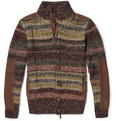 Etro Suede-Trimmed Knitted Camel Hair Cardigan