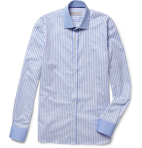 Etro Contrast-Collar Striped Cotton Shirt
