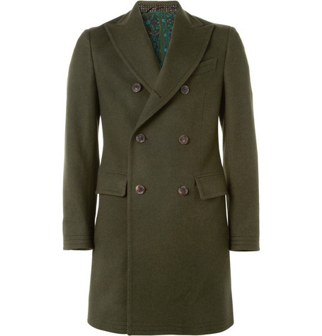 Etro Double-Breasted Wool and Cashmere-Blend Overcoat