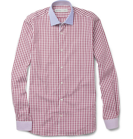 Etro Slim-Fit Gingham Check Cotton Shirt