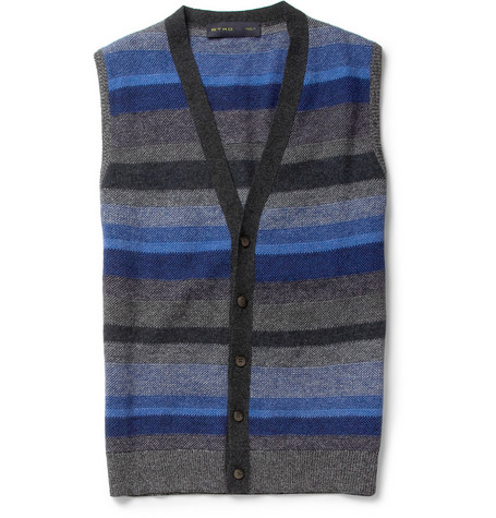 Etro Sleeveless Striped Wool Cardigan