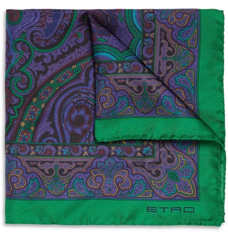 Etro Paisley-Print Silk-Satin Pocket Square