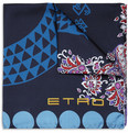 Etro Lizard-Print Silk Pocket Square