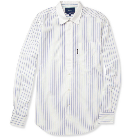 Faconnable Striped Cotton and Silk-Blend Shirt