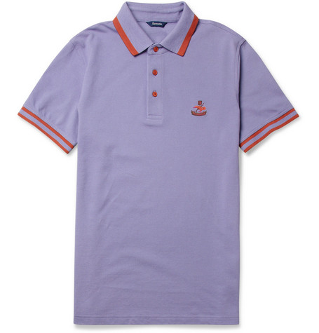Faconnable Contrast-Trim Cotton-Piqué Polo Shirt