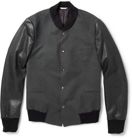 Paul Smith Stretch Cotton-Twill and Leather Varsity Jacket