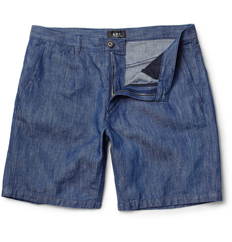 A.P.C. Straight-Leg Cotton and Linen-Blend Shorts