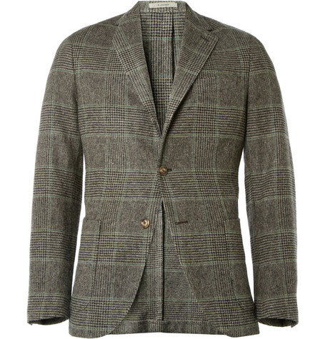 Boglioli Check Woven Wool and Camel-Blend Blazer