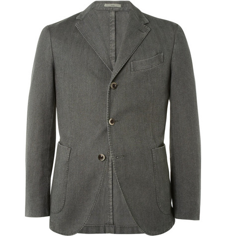 Boglioli Unstructured Herringbone Cotton-Blend Blazer