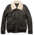 Gucci Shearling-Collar Leather Bomber Jacket