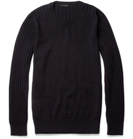 Gucci Ribbed-Panel Wool Sweater