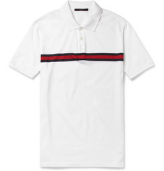 Gucci Striped Cotton-Jersey Polo Shirt