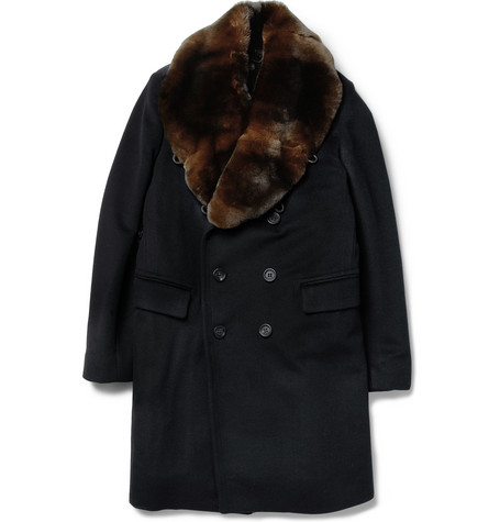Burberry Prorsum Rabbit-Collar Shearling-Lined Wool-Blend Coat