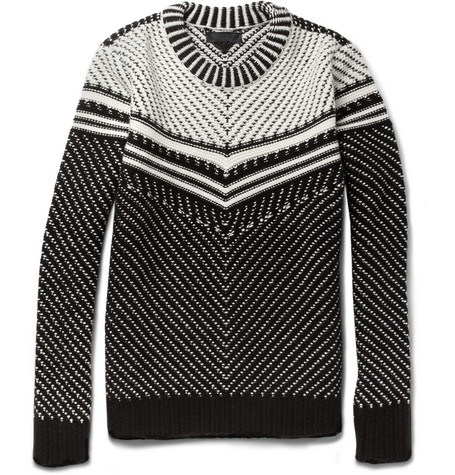 Burberry Prorsum Wool and Cashmere-Blend Intarsia Sweater