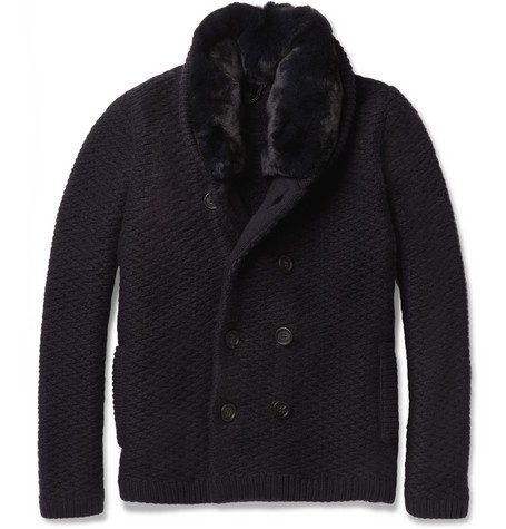 Burberry Prorsum Rabbit-Collar Cashmere Cardigan