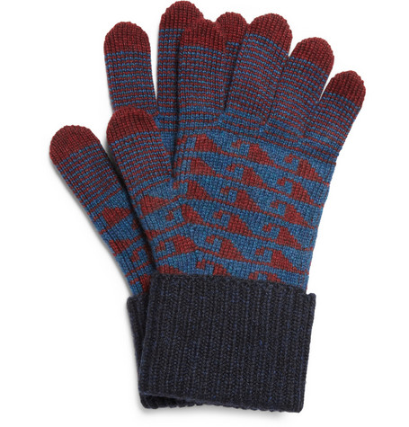 Burberry Prorsum Patterned Cashmere Gloves
