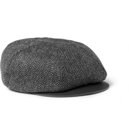 Burberry Prorsum Leather and Herringbone Wool Flat Cap