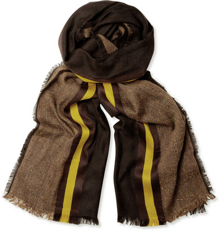 Gucci Striped Silk-Blend Scarf