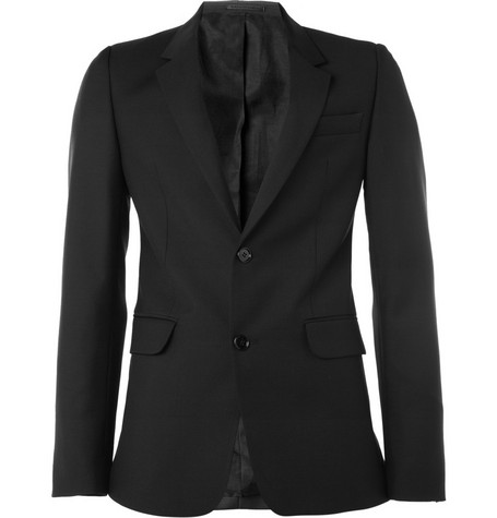 Alexander McQueen Black Wool and Mohair-Blend Suit Jacket