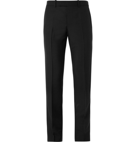 Alexander McQueen Black Wool and Mohair-Blend Trousers