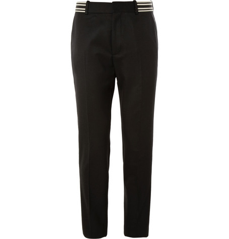 Alexander McQueen Striped-Waistband Cotton Suit Trousers