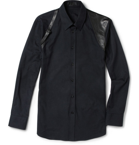 Alexander McQueen Slim-Fit Flannel and Leather Harness Shirt