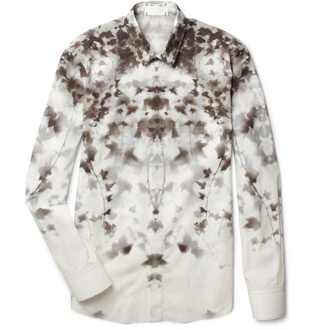 Alexander McQueen Abstract Ivy-Print Cotton Shirt
