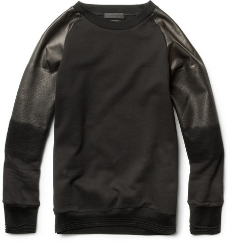Alexander McQueen Degradé Leather-Sleeved Cotton Sweatshirt