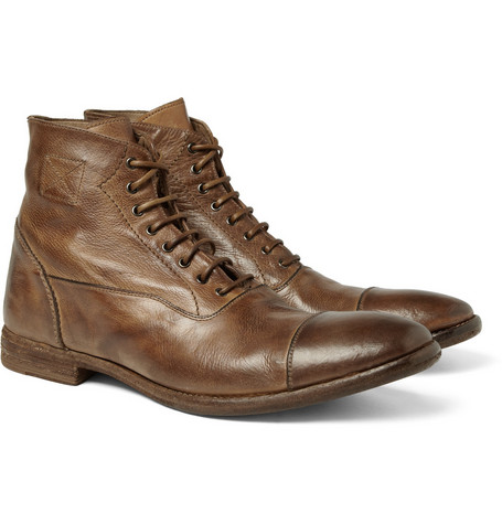 Alexander McQueen Washed-Leather Boots