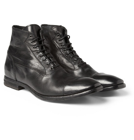 Alexander McQueen Washed-Leather Cap-Toe Boots