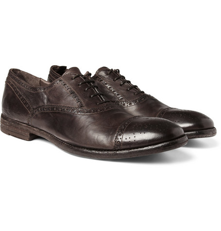 Alexander McQueen Washed-Leather Oxford Brogues