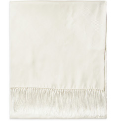 Brooks Brothers Fringed Silk-Jacquard Scarf