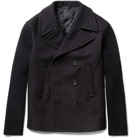 Neil Barrett Contrast-Front Wool-Blend Knitted Peacoat