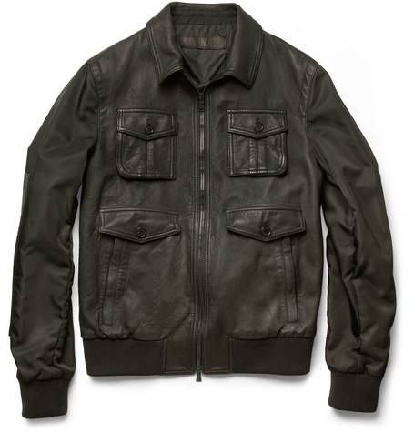 Neil Barrett Leather-Front Bomber Jacket