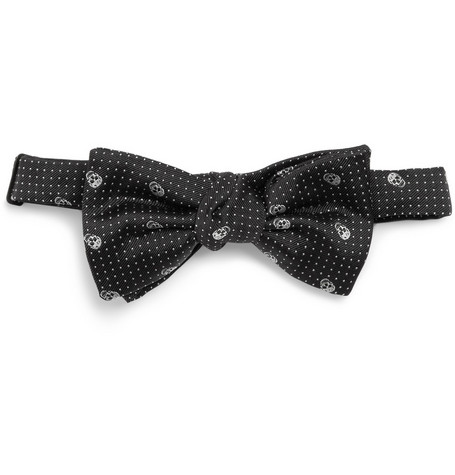 Alexander McQueen Skull-Embroidered Woven-Silk Bow Tie