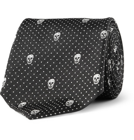 Alexander McQueen Slim Skull-Embroidered Woven-Silk Tie