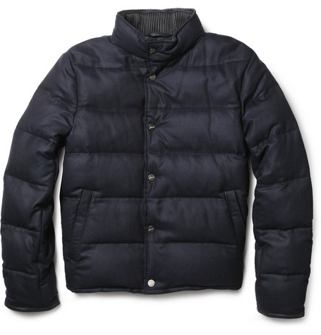 Brioni Leather-Trimmed Quilted Cashmere Jacket