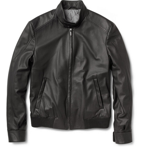 Brioni Leather Bomber Jacket