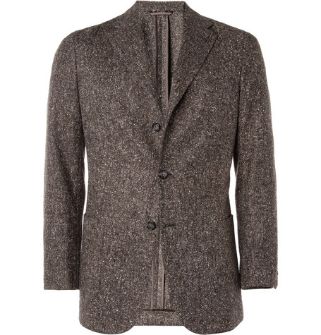 Brioni Unstructured Donegal Tweed Wool-Blend Blazer
