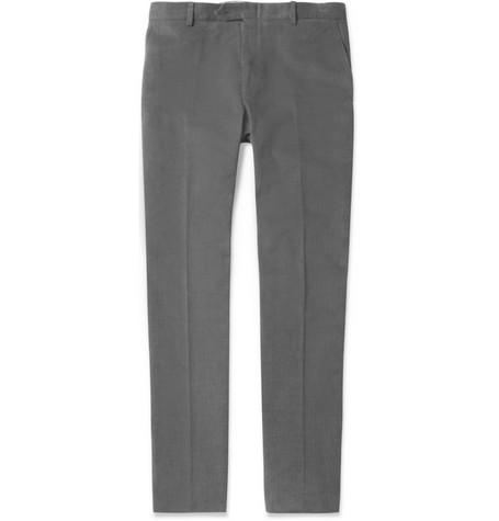 Brioni Brushed Straight-Leg Cotton-Twill Trousers