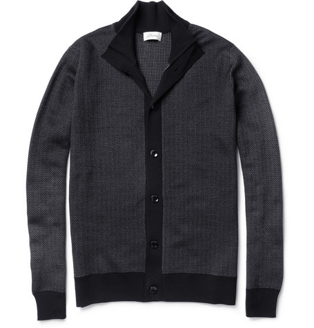 Brioni Herringbone Wool and Silk-Blend Cardigan
