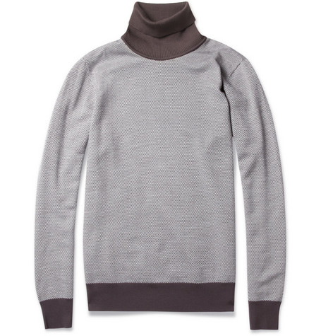 Brioni Herringbone Wool Rollneck Sweater