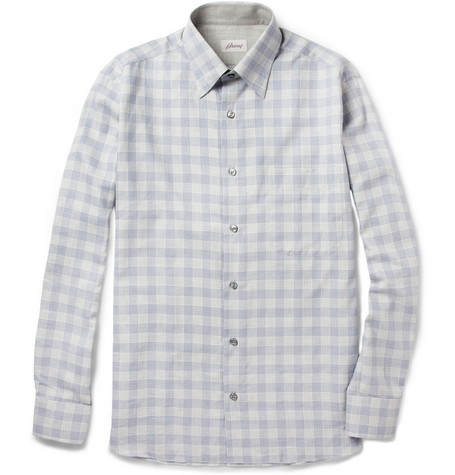 Brioni Prince Of Wales Check Cotton Shirt