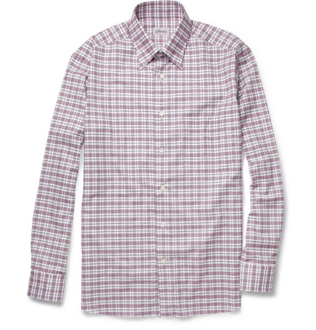 Brioni Plaid Brushed-Cotton Shirt