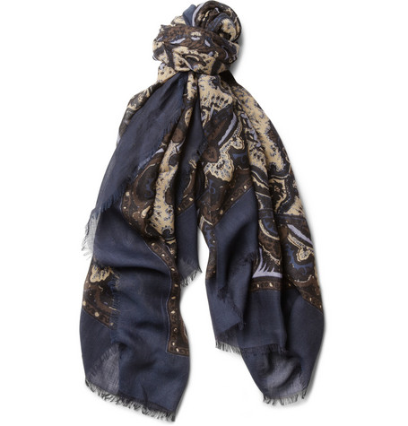 Brioni Printed Cotton and Cashmere-Blend Scarf