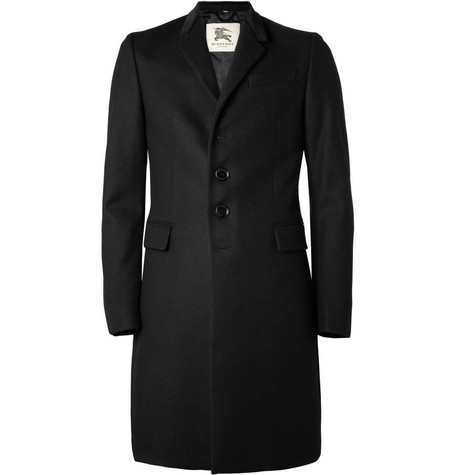Burberry London Velvet-Collar Wool Overcoat