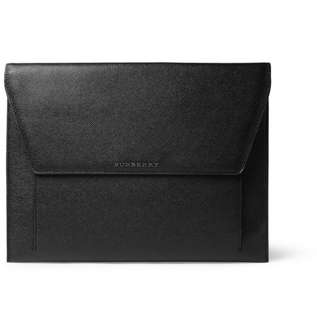 Burberry Shoes & Accessories Cross-Grain Leather Laptop Case