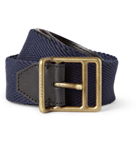 Burberry Shoes & Accessories Cotton-Canvas and Leather Belt